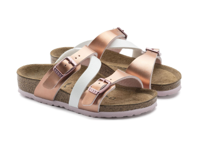 Birkenstock Salina Kids Metallic Soft Metallics Rose White