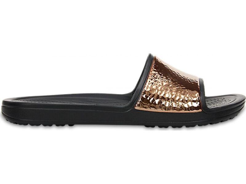 ddbdc90095e ... Crocs™ Sloane Hammered Metallic Slide Black/Rose Gold ...