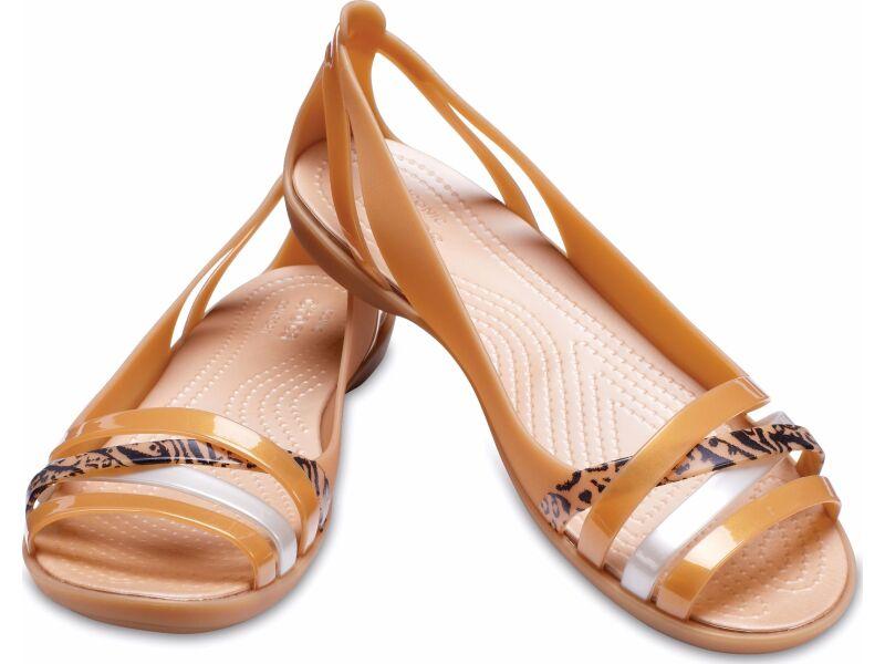 Crocs™ Isabella Graphic Huarache II Flat Dark Gold/Gold