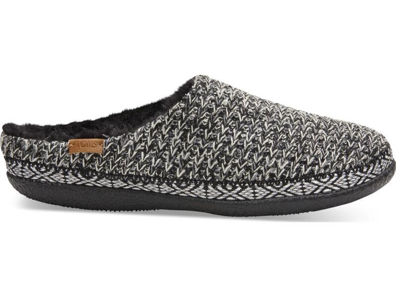 TOMS Sweater Knit Women'S Ivy Slipper Black/White