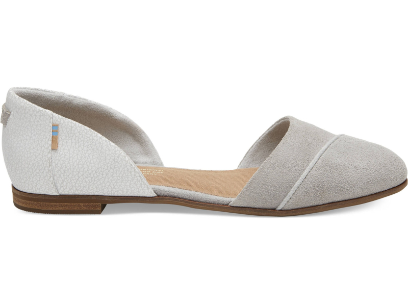 TOMS Suede Crackle Leather Women's Jutti Dorsay Drizzle Grey