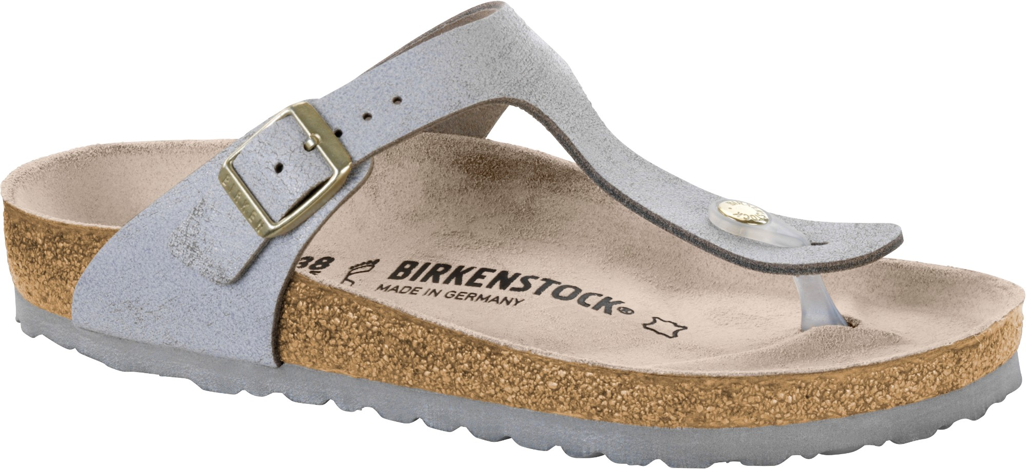 1549248e341 Birkenstock Gizeh Washed Metallic Leather Washed Metallic Blue Silver