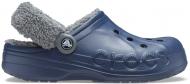 Crocs™ Baya Lined Fuzz Strap Clog Navy/Slate Grey