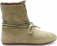 TOMS Suede Faux Hair Women's Zahara Bootie Oxford Tan